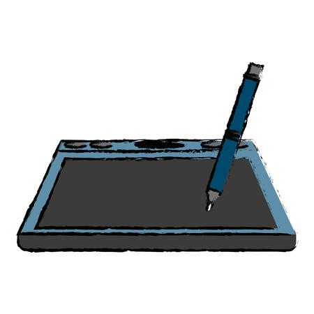 tablet digital pen graphic design equipment vector illustration Ilustração Vetorial