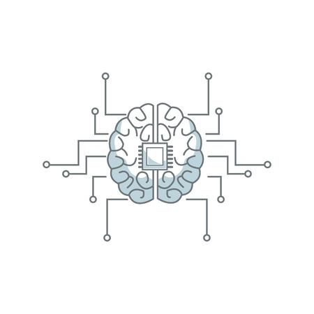printed circuit board human brain center of computer system vector illustration Illustration