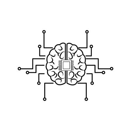 printed circuit board human brain center of computer system vector illustration Çizim