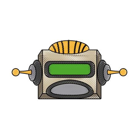 funny robot: robot head electronic antenna machine vector illustration