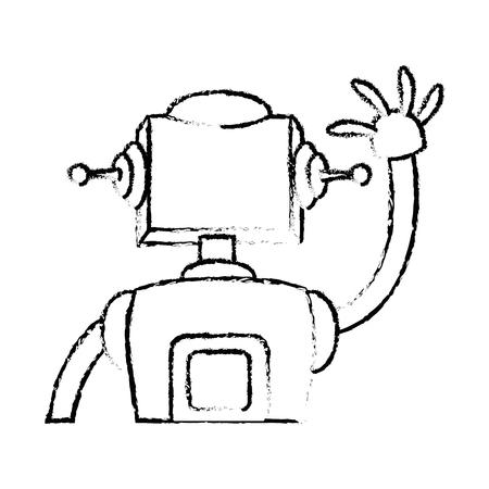 bionic: robot science technology future machine vector illustration