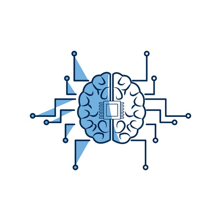 printed circuit board human brain center of computer system Illustration