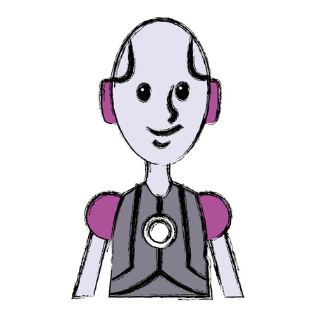 friendly android robot character cyborg future vector illustration