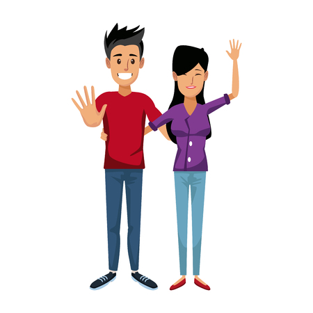 young happy couple parent or couple gesturing with blissful smile vector illustration Illustration