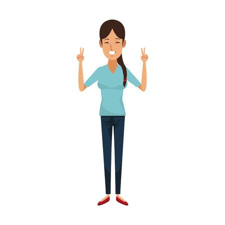 character woman female waving hand happiness vector illustration Illusztráció