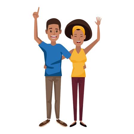 젊은 행복 한 커플 부모 또는 행복 한 미소 벡터 일러스트와 몸짓 부부