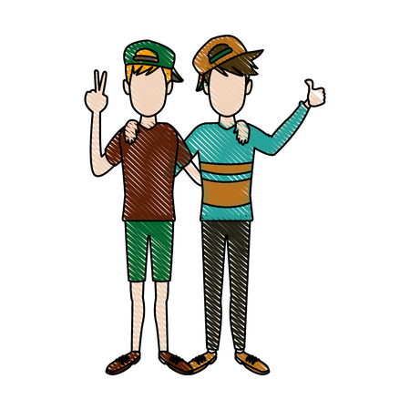 two boys smiling hugging and waving their hands best friends Illustration
