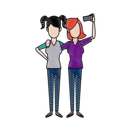 Beau heureux étreignant deux vêtements décontractés pour filles Banque d'images - 81631519