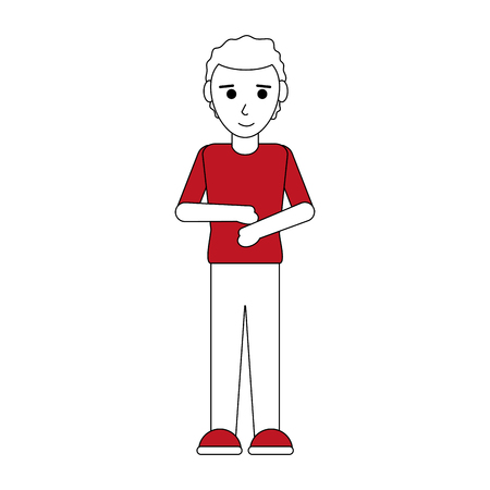 Flat line standing man with clothing over white background