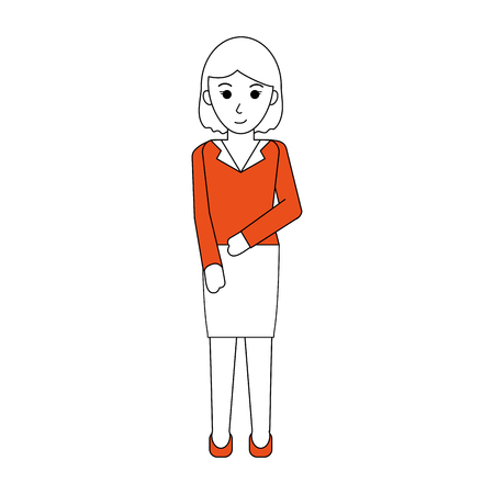 hint: Flat line standing woman with clothing and a hint of color over white background