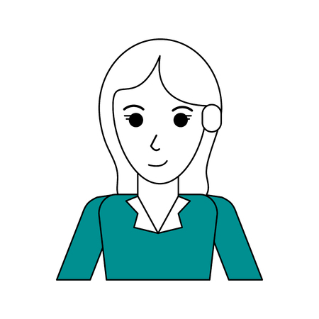Flat line woman with hairstyle design and cardigan over white background vector illustration