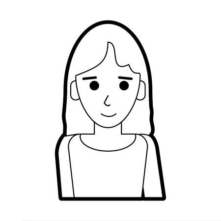 Flat line uncolored woman with shirt over white background vector illustration Vektoros illusztráció