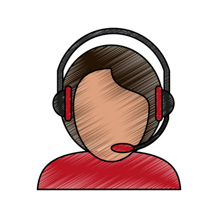 Colorful man avatar with headset and microphone doodle over white background vector illustration Illustration
