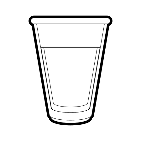 Flat line uncolored drink glass over white background vector illustration