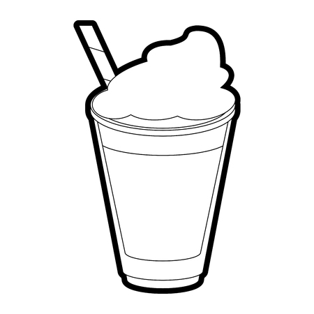 Flat line uncolored milkshake over white background vector illustration