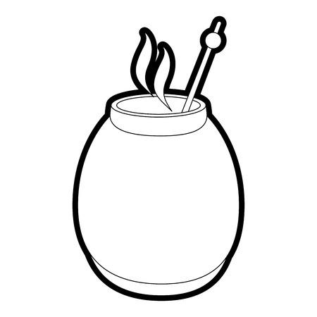 Flache Linie ungefärbt Mate trinken über weißem Hintergrund Vektor-Illustration Vektorgrafik