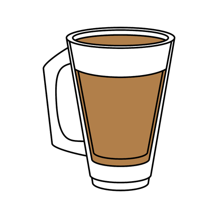 tumbler: Flat line coffee glass illustration.