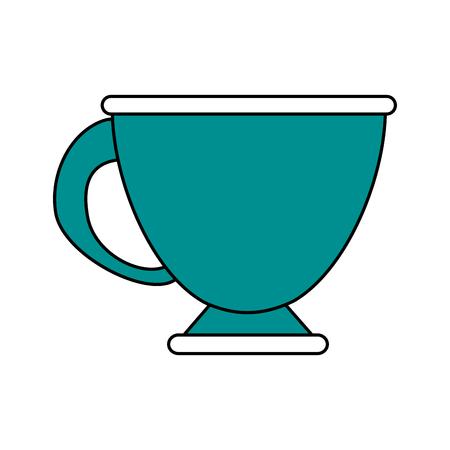 Flat line tea cup illustration.