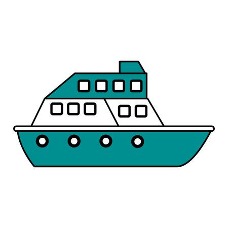 Flat line ship illustration. Illustration
