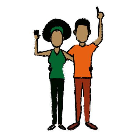행복 한 젊은 커플 부모 또는 행복 한 벡터 일러스트와 몸짓 부부
