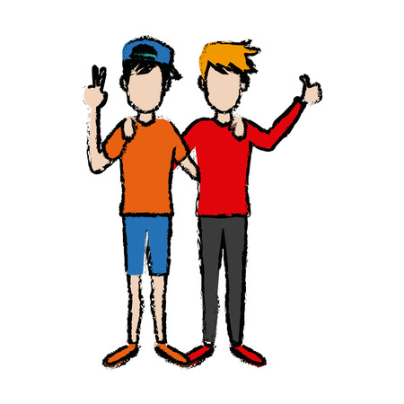 two boys smiling hugging and waving their hands best friends vector illustration Illustration