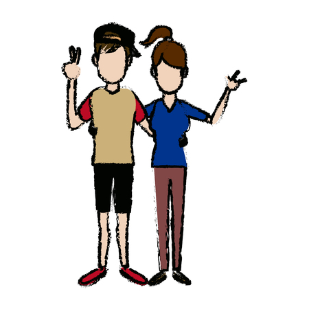 young happy couple parent or couple gesturing with blissful vector illustration