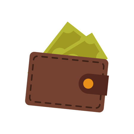 Brown wallet safe money dollar banknote vector illustration