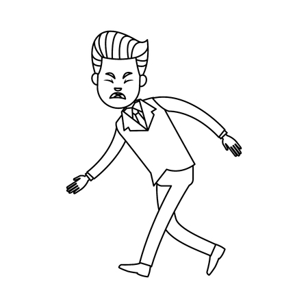 Businessman character, sad due to problem crisis vector illustration