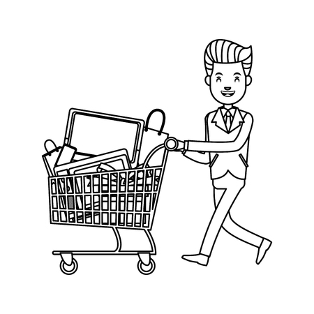Businessman character, pushing a full shopping cart with merchandise vector illustration