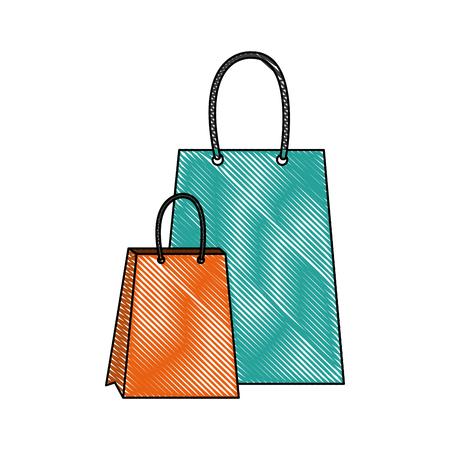 paper shopping bag gift handle element vector illustration