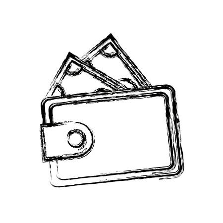 wallet safe money dollar banknote concept vector illustration Vektoros illusztráció