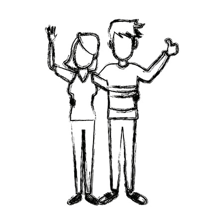 young happy couple parent or couple gesturing with blissful smile vector illustration Ilustrace