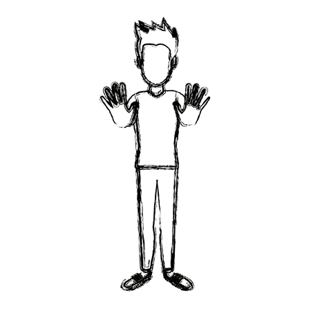 young man standing gesturing character person image vector illustration