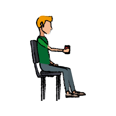 people holding coffee cup sitting in the office break Illustration