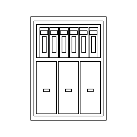store shelf: CabinetWooden bookshelf furniture, wooden office vector illustration