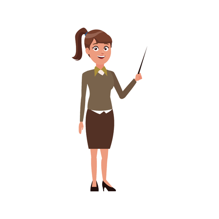hazard sign: young woman standing holding stick presentation vector illustration