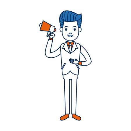 businessman character holding speaker advertising vector illustration