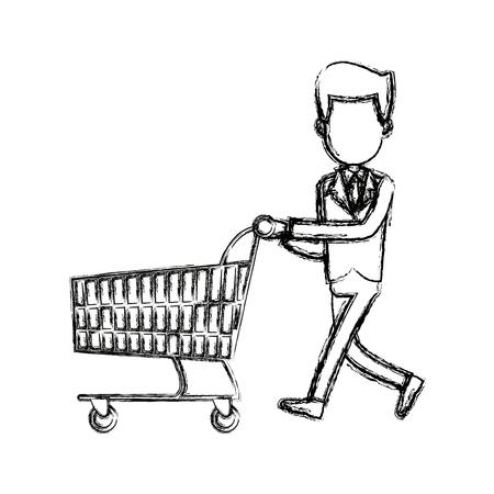 businessman character push shopping cart vector illustration
