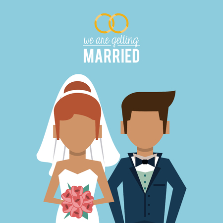 wedded: colorful poster of we are getting married with faceless half body of couple of just married vector illustration