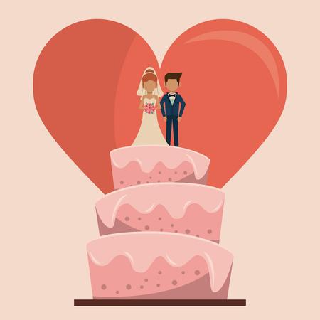 ちょうど結婚して大きな心臓ベクトル イラストのカップルでウェディング ケーキのカラフルな背景