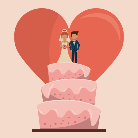 colorful background of wedding cake with couple of just married and big heart vector illustration Illustration