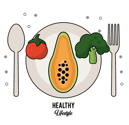 white background of healthy lifestyle with cutlery set and dish with tomato papaya and broccoli vector illustration Illustration