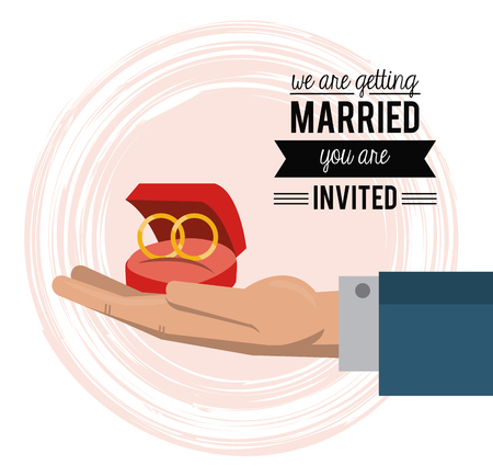 wedded: colorful card of invited of we are getting married with hand holding wedding rings vector illustration