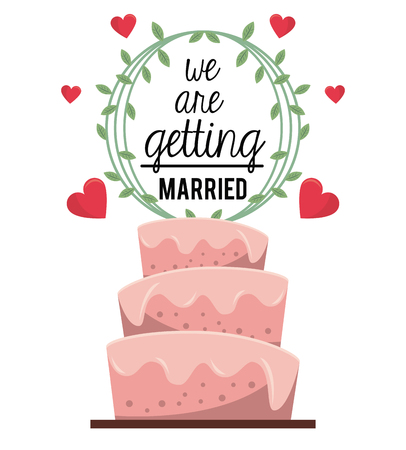 wedding reception decoration: colorful poster of we are getting married with wedding cake with natural ornament and hearts vector illustration
