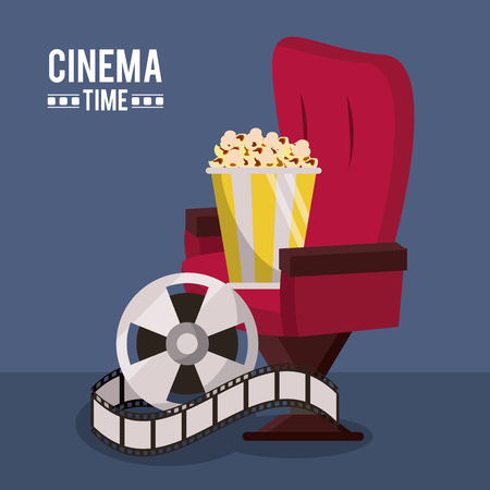 colorful poster of cinema time with cinema chair and film reel and popcorn vector illustration Illustration