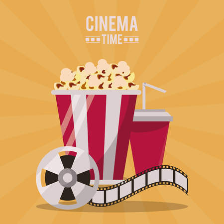colorful poster of cinema time with popcorn pack and drink and film reel vector illustration Illustration
