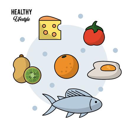 음식의 집합으로 건강 한 라이프 스타일의 화려한 배경 키 위 과일 및 치즈와 오렌지 토마토 계란 및 물고기 벡터 일러스트 레이 션 일러스트