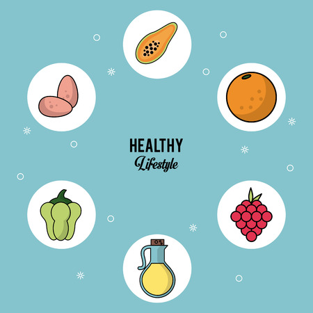 colorful background of healthy lifestyle with set of food in round frames of eggs papaya orange grapes olive oil and peppers vector illustration Illustration