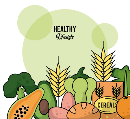colorful background of healthy lifestyle with set of fruit vegetables and cereals vector illustration