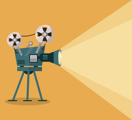 yellow background with movie projector vector illustration